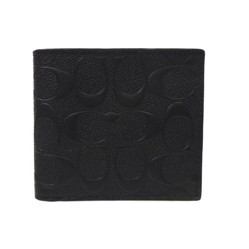 new concept 6bc97 d3b7c コーチ 財布 メンズ/シグネチャー クロスグレイン レザー 二つ折り財布 F75363 BLK